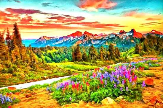 Алмазная мозаика 40x50 Долина в ярких цветах