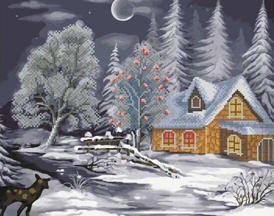 Алмазка-раскраска Морозная ночь и домик в лесу